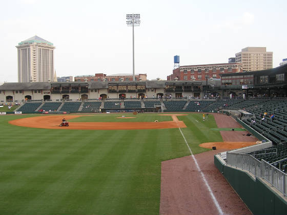 A view of the First Base side at Riverwalk Stadium